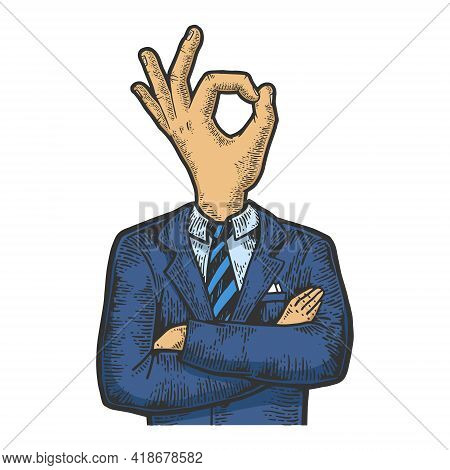 Businessman With Okay Hand Gesture Instead Head Color Sketch Engraving Vector Illustration. Scratch