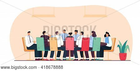 Business People Or Politicians Sitting Around Table In Boardroom. Flat Vector Illustration. .team Of