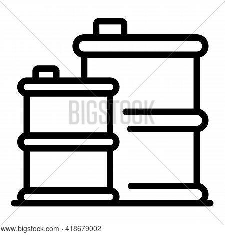 Kerosene Barrels Icon. Outline Kerosene Barrels Vector Icon For Web Design Isolated On White Backgro