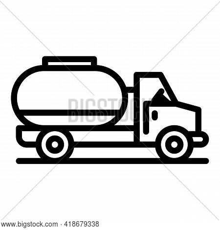 Oil Transportation Car Icon. Outline Oil Transportation Car Vector Icon For Web Design Isolated On W