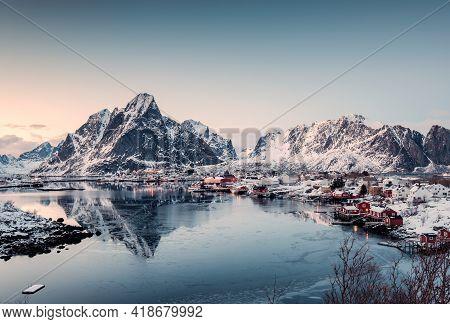 Viewpoint Of Fishing Village In Valley On Winter At Reine, Lofoten Islands, Norway