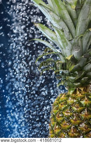 Big Fresh Pineapple Close Up Under The Water Drops. Water Splash . Multivitamin Cocktail. Pineapple