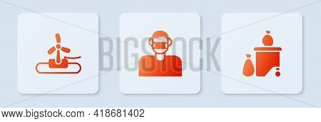 Set Face In Protective Mask, Wind Turbine And Full Dustbin. White Square Button. Vector