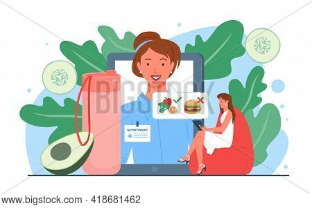 Nutrionist Doctor Appointment Online Vector Illustration. Cartoon Woman Dietitian And Patient Charac