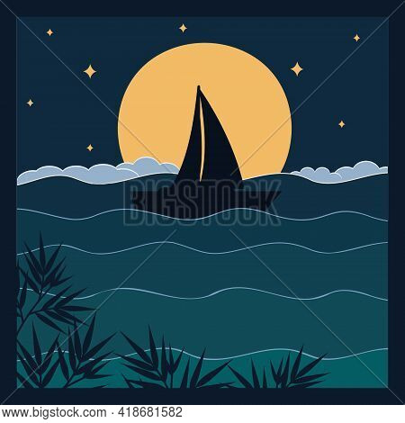 Sailboat On The Waves In The Night Sky Against The Background Of The Moon And Stars Papercut Illustr