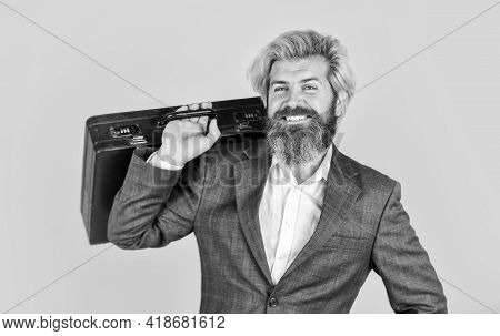Cheerful Sales Manager. Hipster Bearded Face Hold Briefcase With Bribe. Businessman Run Away Busines