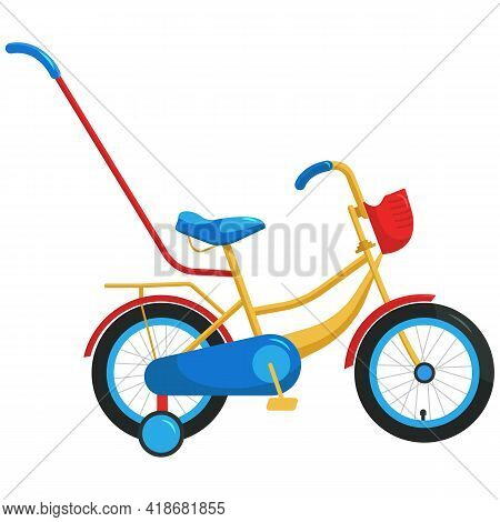 Vector And Illustration Of A Children's Bicycle. A Bright Bike For A Child. Multi-colored Slip Art F