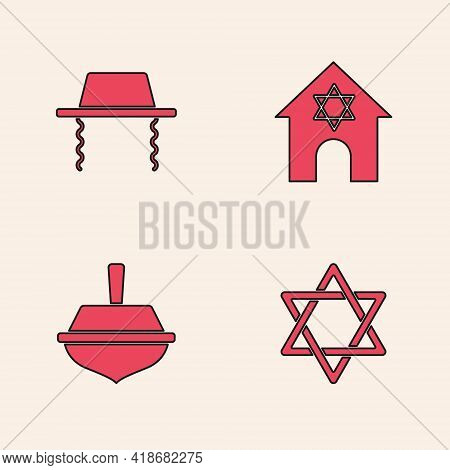 Set Star Of David, Orthodox Jewish Hat, Jewish Synagogue And Hanukkah Dreidel Icon. Vector
