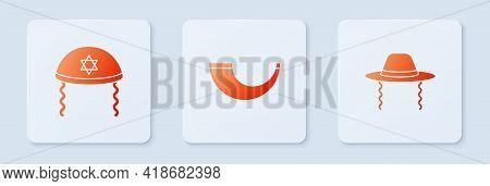 Set Traditional Ram Horn, Shofar, Jewish Kippah And Orthodox Jewish Hat. White Square Button. Vector
