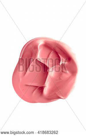 Coral Beauty Cosmetic Texture Isolated On White Background, Smudged Makeup Emulsion Cream Smear Or F