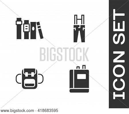 Set Book, , School Backpack And Pants With Suspenders Icon. Vector
