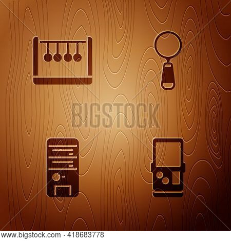 Set Tetris, Pendulum, Computer And Magnifying Glass On Wooden Background. Vector