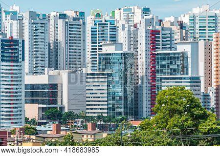 Cityscape Of Gleba Palhano Neighborhood At Londrina City, Pr, Brazil. High Density Area Of Commercia
