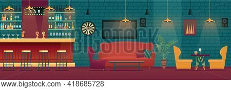 Bar Pub Interior Vector Illustration. Empty Modern Bar Counter With Tables, Lounge And Barista Board
