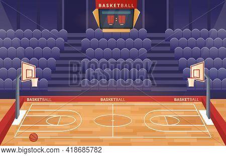 Basketball Court Arena Stadium, Cartoon Empty Hall Field To Play Basketball Team Game