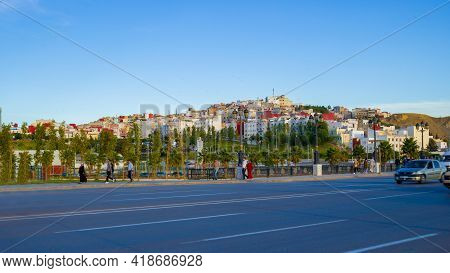 Tangier, Morocco - 17 October, 2019: Cityscape With Road And Buildings On Hill Slope. Blurred Motion