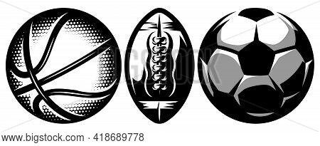 Set Of Stylish Sports Ball For Soccer, Basketball And American Football.