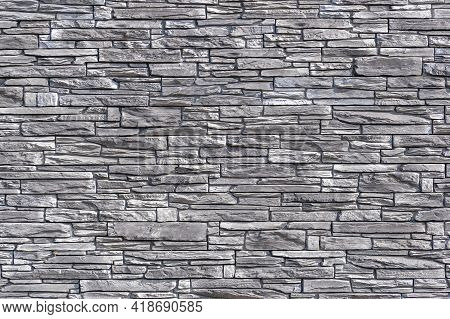 Detail Of A Marble Wall, Made Of Wild Stone, Stone Wall With Gray Blocks, Stone Texture, Detailed Vi