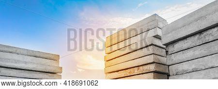 Concrete Blocks At A Construction Site. Concrete Structures, Industrial, Building Materials, High Re