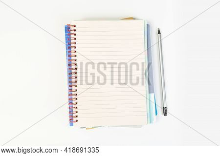 Top View Of Open Notebook With Pen On Gray Background, School Notebooks With Coil Spring, Office Not