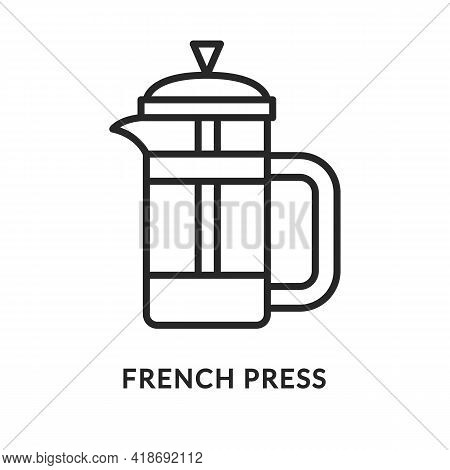 French Press Flat Line Icon. Vector Illustration Jug For Making Coffee And Tea