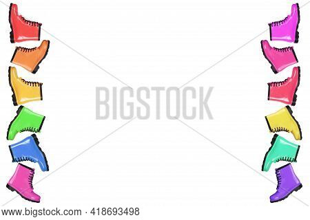 Creative Background With Colorful Rubber Boots On White Background.lots Of Women's Rubber Boots.autu