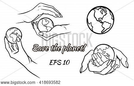 Let's Protect The Planet. Let's Save The Planet. Planet In Hand. Ecology. Cartoon Style. Vector Illu
