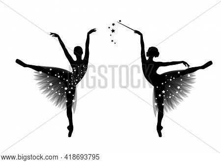 Graceful Ballerina Girl With Transparent Tutu Dress And Magic Wand Standing On Pointe Shoes - Fairy
