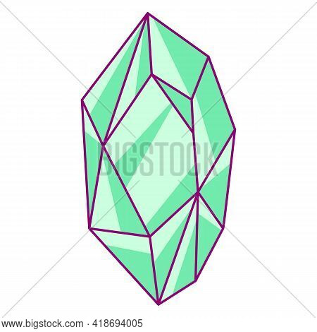 Illustration Of Shiny Emerald. Picture For Decoration Children Holiday And Party.