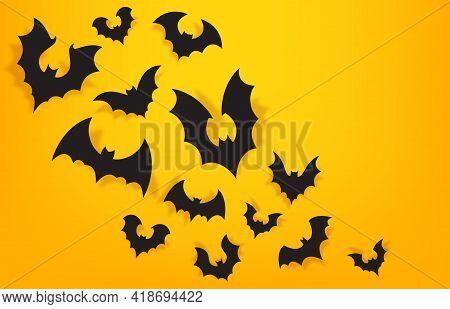 Paper Bats Background. Halloween Orange Banner With Spooky Bat. Trick Or Treat Party Decoration. Vec