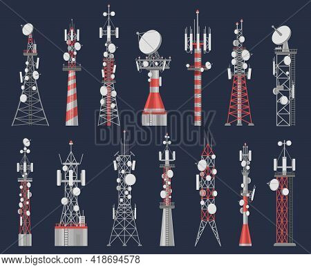 Antenna Towers. Radio Tower Station For Cell Communication With Wireless Signal. Telecom Network Con