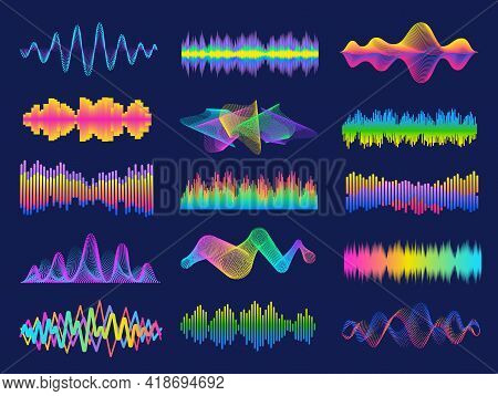 Audio Frequency. Neon Music Sound Waves For Radio Equalizer. Voice Recognition For Digital Assistant