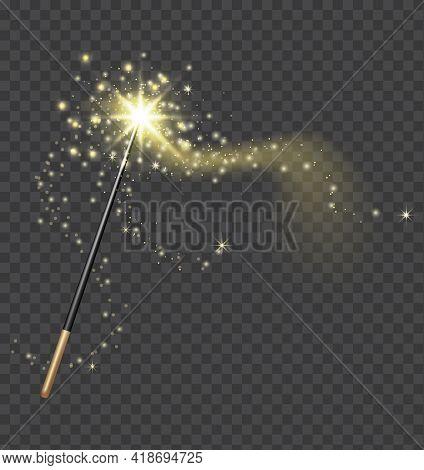Magic Wand. Realistic Fairytale Stick With Golden Sparkle Trail. Fantasy Glitter And Shine Star. Fai