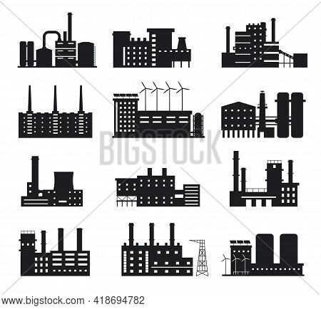Factory Silhouette. Industrial Building Icons. Manufacture Plant And Power Station With Chimneys, Wi