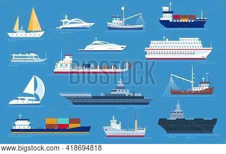 Sea Boats. Fishing And Cargo Ships, Yacht, Shipping Boat, Cruise Ocean Liner, Motorboat And Military