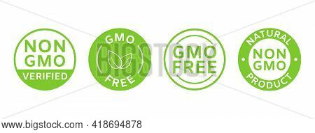 Non Gmo Labels. Gmo Free Icons. Organic And Natural Cosmetic. Eco, Vegan, Bio. Healthy Food Concept.