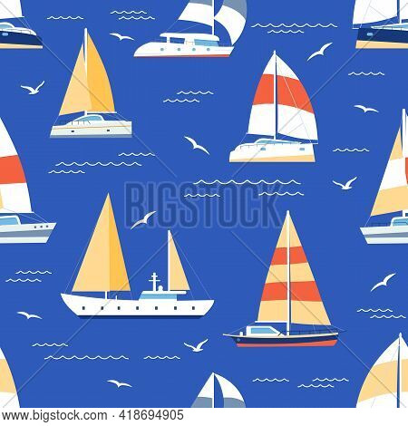 Boats Seamless Pattern. Summer Marine Print With Sailboats And Yacht On Sea. Sailing Regatta Ships T