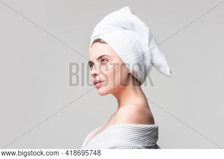 Woman Applying Eye Patches. Young Pure Beautiful Gentle Woman Take Care Of Her Skin With Under Eye P
