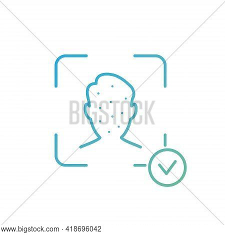 Face Recognition And Identification Line Icon. Biometric Facial Detection Pictogram. Facial Scan And