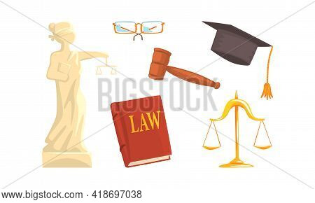 Lawyer Or Attorney Symbols And Attributes Vector Set