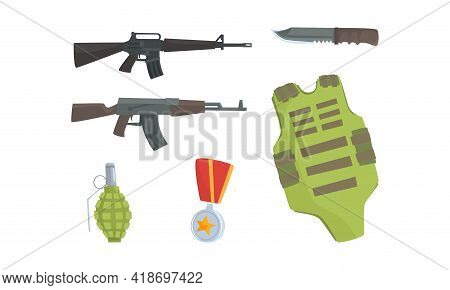 Military Equipment Of Khaki Color With Vest And Grenade Vector Set