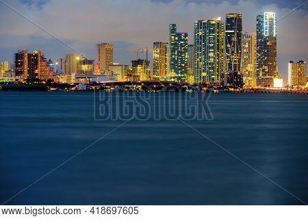 Miami Skyscrapers At The Night, South Beach. Miami Night Downtown.