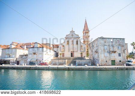 Milna, Croatia - 1.04.2021: Wiew From Water Of The City Of Milna, Croatia