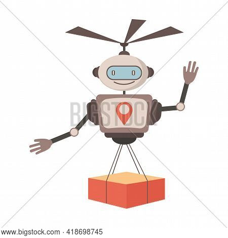 Modern Robotic Express Delivery Service Vector Flat Illustration. Cute Robot Courier Carrying Parcel
