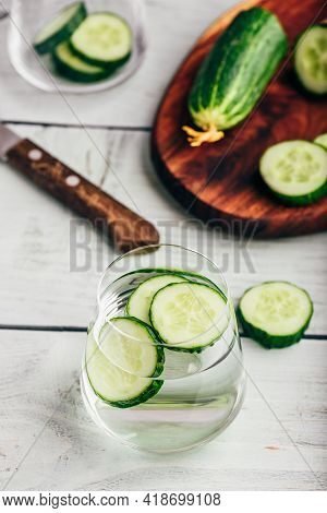 Detox Water With Sliced Cucumber In A Drinking Glass
