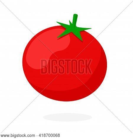 Fresh Tomato Icon Vector Isolated Clipart Flat Cartoon Illustration On White Background