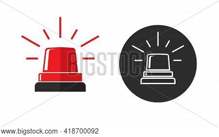 Emergency Flasher Red Color Icon Or Black And White Police Siren Light Pictogram Flat Cartoon And Li