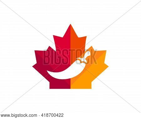 Maple Chili Logo Design. Canadian Chili Logo. Red Maple Leaf With Chili Concept Vector
