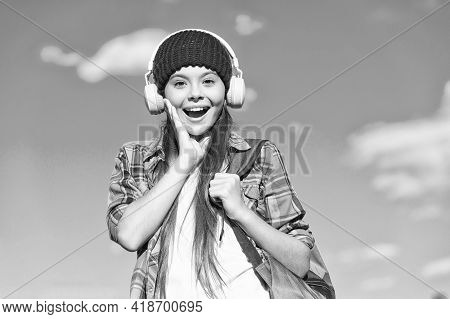 Language Matters. Happy Child Wear Headphones Blue Sky. Foreign Language School. Learning English. A