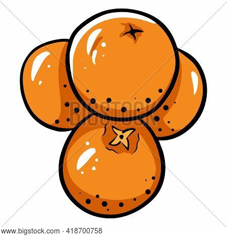 Mandarins. Several Tangerines On Top Of Each Other. Citrus Fruits. Vitamin C. Cartoon Style.